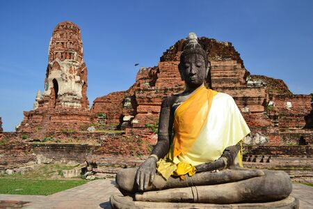 Statue of  Buddha at Wat Mahatat, Ayutthaya Thailand. photo