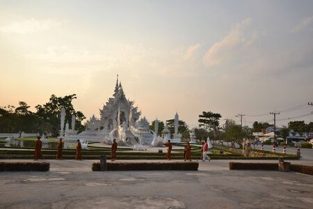 Wat Rong Khun in the evening,Thailand  photo