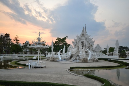 elaboration: Wat Rong Khun in the evening,Thailand. Stock Photo