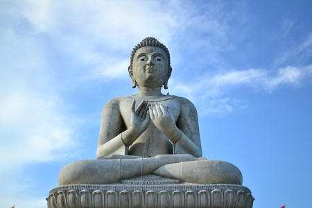 Statue of Buddha with blue sky,Thailand. photo