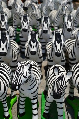 molded: Earthenware of Zebra sculptures. Stock Photo