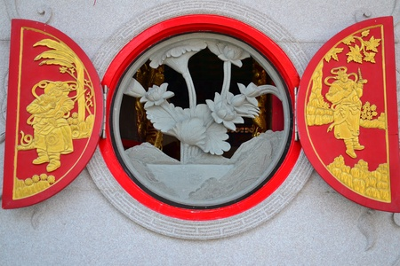 Window Chinese style in Chinese temple. photo