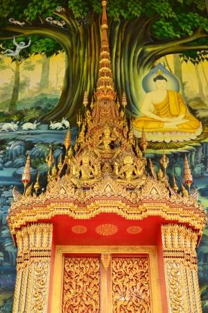 Painting on church wall,thai temple, Samut Songkhram Province,Thailand