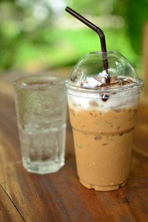 Iced coffee and cold water drink in glass Image. Stock Photo