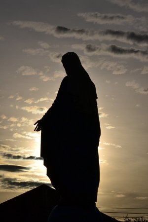 Silhouette  Virgin mary statue in thailand. Stock Photo - 14401673