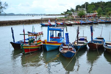 Fishing Boats in blue sky,Thailand,Asia. photo