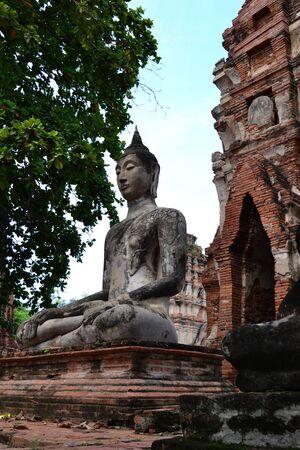 ayuttaya: Statue of  Ancient Buddha at Wat Mahatat, Ayutthaya Thailand.