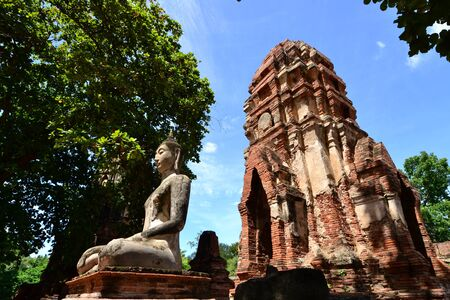 Statue of  Ancient Buddha at Wat Mahatat, Ayutthaya Thailand. photo