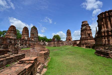 Ancient pagoda of Ayuthaya  at Wat Mahatat, Ayutthaya Thailand.