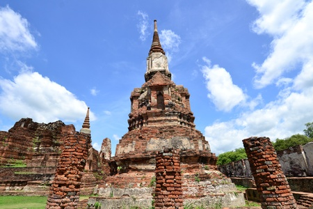 Ancient pagoda of Ayuthaya  at Wat Mahatat, Ayutthaya Thailand. photo