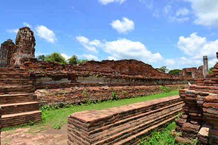 remains: Thai ancient temple remains in Ayutthaya,Thailand