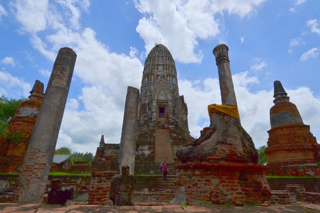 Ancient pagoda of Ayuthaya  at Wat Ratburana, Ayutthaya Thailand.