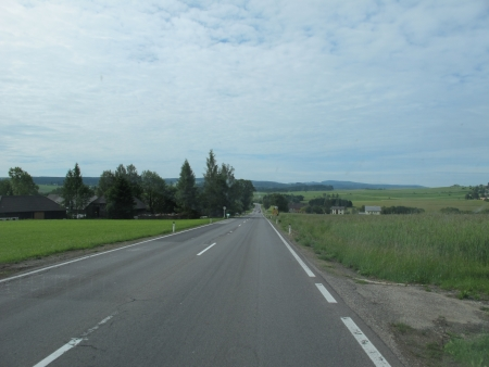 hiway: Two sides view from Cesky Krumlov to Salzburg Stock Photo