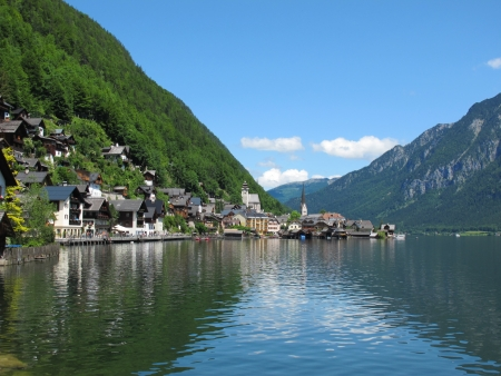 Views of waterfront of  Hallstatt,Austria Stock Photo