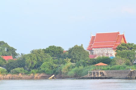 Views of waterfront of  Chaopraya river,Ayutthaya,Thailand photo