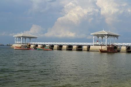 Beautiful wooden pier at Ko Si Chang  Si Chang  Island ,Sriracha,Chonburi Province,Thailand,Asia Stock Photo - 15662447