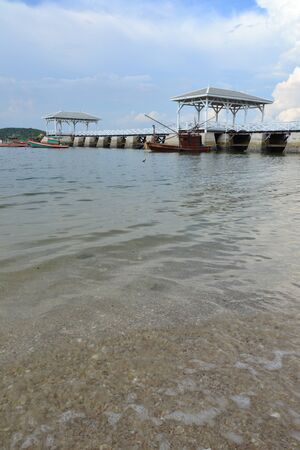 Beautiful wooden pier at Ko Si Chang (Si Chang  Island),Sriracha,Chonburi Province,Thailand,Asia photo