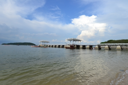 Beautiful wooden pier at Ko Si Chang (Si Chang  Island),Sriracha,Chonburi Province,Thailand,Asia