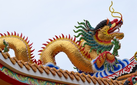 Golden Dragon. on the roof with blue sky at Chinese shrine ,Thailand.
