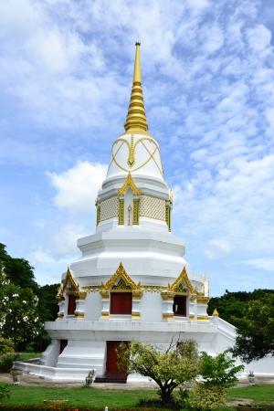Thai white pagoda and blue sky ,Angthong Province,Thailand,Asia