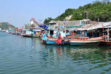 Landscape of  fisherman village at Khao Takiab, Hua Hin,Prachuap Khiri Khan Province,Thailand. photo