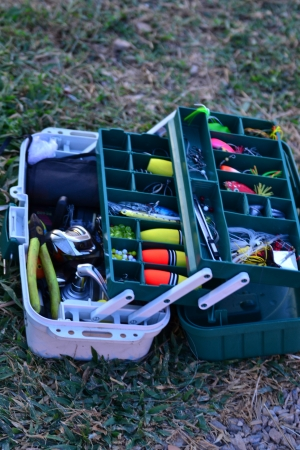 A fully stock fishermans tackle box  photo