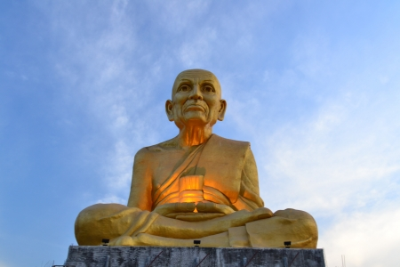 buddha head: Gold monk statue in Thai temple,Ayutthaya Province,Thailand,Asia