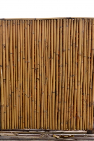 A Handmade Bamboo Door As Texture With Parallel Sticks. Photo