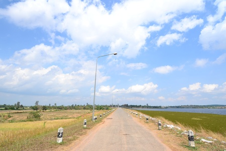 Empty road in Nakhon Ratchasima Province,Thailand. photo