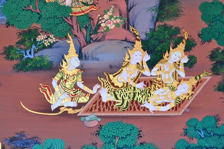 Thai Traditional Painting in Thai temple (Wat thai),Bangkok,Thailand,Asia