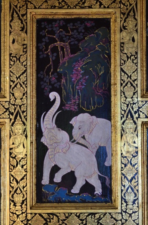 buddhist structures: Traditional Thai painting on the wall at  Thai temple. Editorial