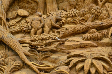 An ancient mural wood carving in Thai temple. Stock Photo - 18223794