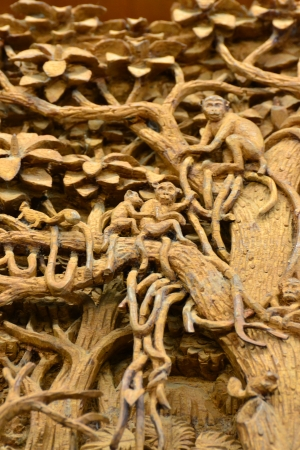 An ancient mural wood carving in Thai temple. Stock Photo - 18223788