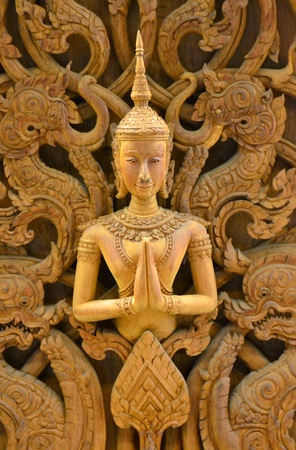 An ancient mural wood carving in Thai temple. Stock Photo - 18223783