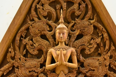 An ancient mural wood carving in Thai temple. Stock Photo - 18223781