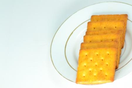 Close up crackers isolated on white background. Stock Photo - 18647524