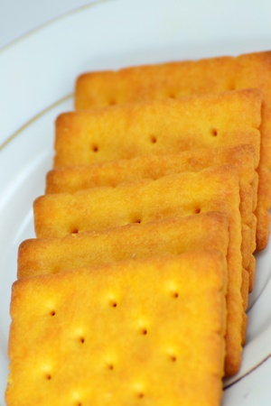 Close up crackers isolated on white background. Stock Photo - 18647771