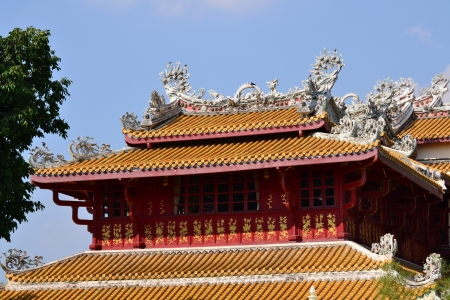 Chinese style pavilion  in Bang Pa-In Palace , Ayutthaya Province,Thailand,Asia.