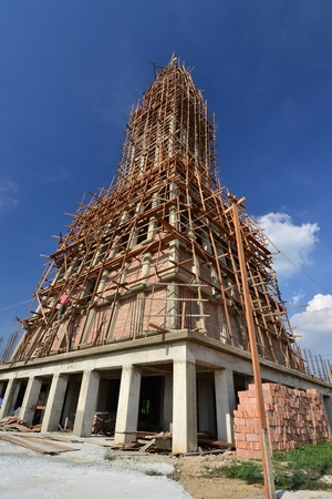 unfinished building: Unfinished building with blue sky background,Thailand. Stock Photo