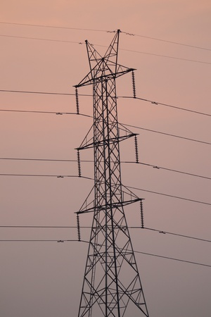 High voltage line and power transmission tower photo