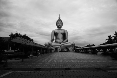 world   s largest: The world s largest Buddha at Thai temple(Wat Muang),Thailand,Asia.