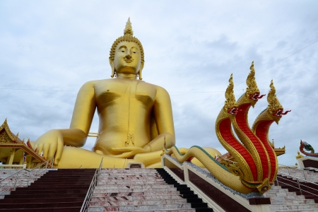 The Biggest Golden Buddha at Thai temple (Wat Muang) ,Thailand,Asia. Stock Photo