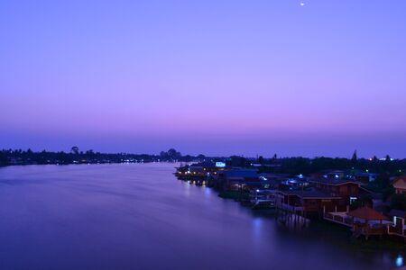 riverfront: Lanscape of The Chaopraya river,Bangkok,Thailand.