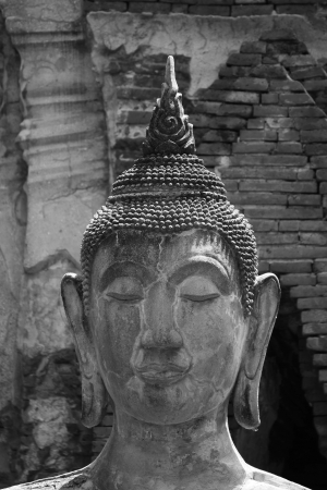 The head of Buddha Image at ayutthaya Province, Thailand.