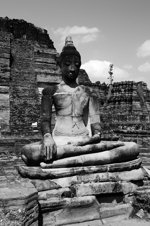 Statue of Buddha at Wat Mahatat, Ayutthaya ,Thailand. Stock Photo