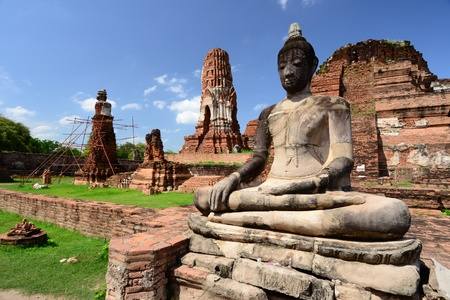 Statue of Buddha at Wat Mahatat, Ayutthaya, Thailand. Stock Photo