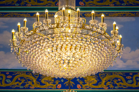 crystal chandelier: Crystal chandelier at Chinese temple. Stock Photo