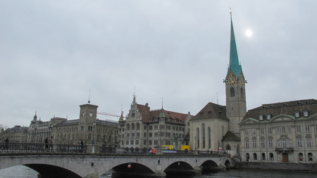 grossmunster cathedral: Beautiful scenery and architecture in Zurich, Switzerlan.