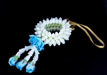 Wrist garlands made from jasmine flowers for the ceremony of Thailand