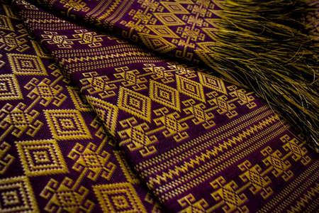 thai silk: thai silk purple-gold